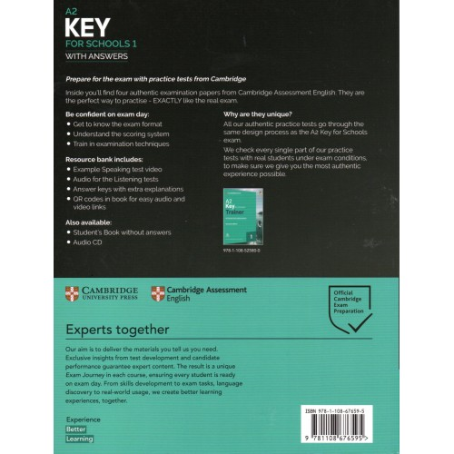 Cambridge Key A2 English Test for Schools 1 with key and ...