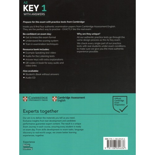 Cambridge KEY A2 English Test 1 Pack